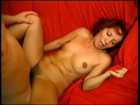 redhead milf slut deep throats a young cock then sits on it with her hairy pussy