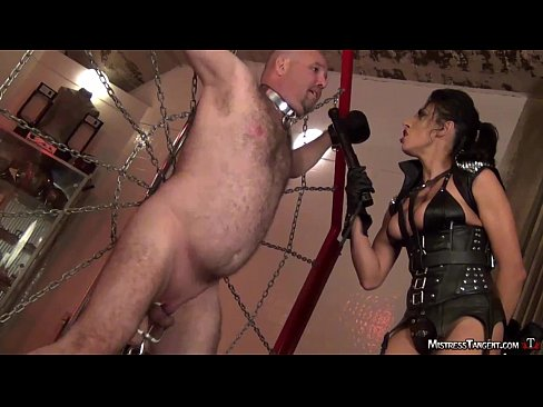 Bound male slave twists and jumps to cock torment