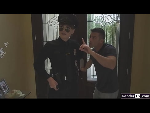 Shemale cop Natalie Mars is cock sucked