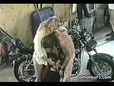 Hot blonde In A With Bikers Gang Bang Classic