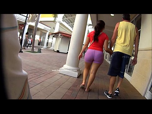 Candid Latina Strolling In Pink Hot spandex Shorts