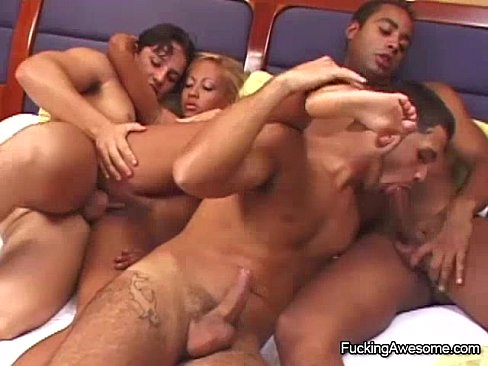Latin Babe Having Group Sex With Bisex Guys