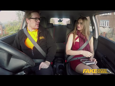 Fake Driving School internal cumshot for hot babe in a car