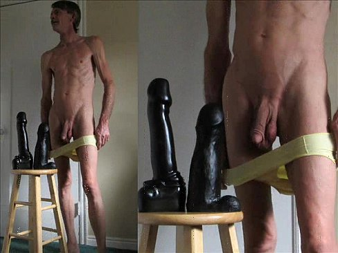 Ass Stretching Double Giant Black Dildos