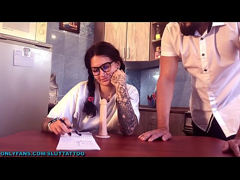 Schoolgirl studying cocksucking and in reward gets big cock, lots of cum on face