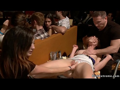 Blonde is gangbanged in public theater
