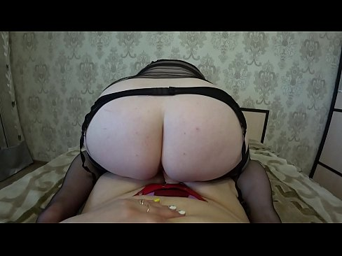 Thick milf rides on a girlfriend, her big ass shakes, huge tits swing, lesbians POV.