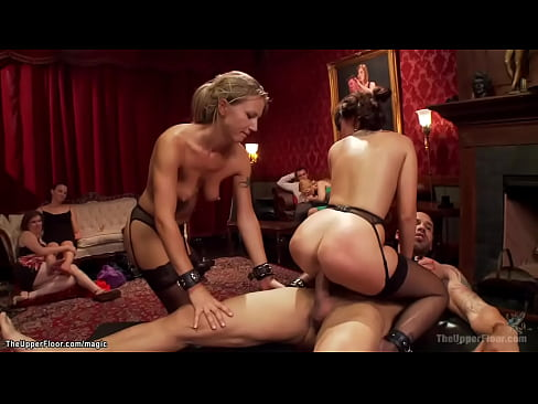 Hot slaves fucked and whipped at party