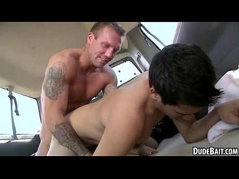 Sexy tattooed hunks have anal first time