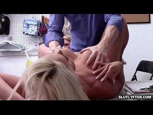Big tits milf Kylie Kingston pounded so hard over the table by the LP Officers massive cock!