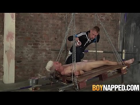 Kinky twink Titus Snow tied up for rough throat fucking