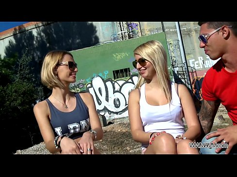Hot busty chicks swap cum from big cock after great threesome