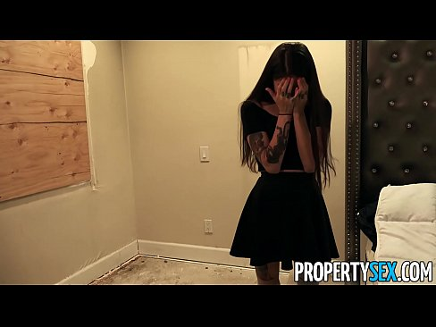 PropertySex Sexy brunette with tattoos and perky tits says sorry for burning down roommate's room by giving him blowjob and fucking him too.