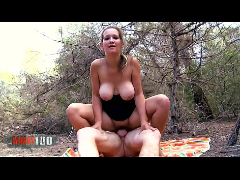 Cute young french girl with amazing huge natural boobs fucked in the woods
