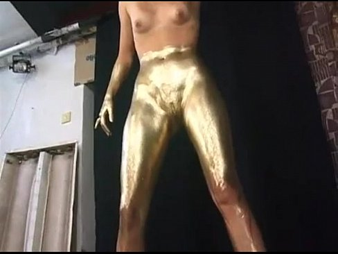 Girl painted gold