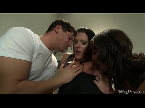 TS tattoo shop boss in threesome
