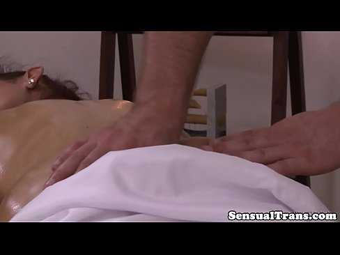 Massaged buttfucked trans babe taking cock