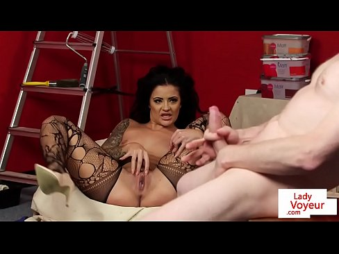 Smalltit MILF helps submissive guy to cum