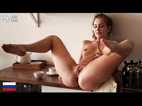 DOEGIRLS - #Mary Rock - Bored  Russian Teen Plays With Pussy On Kitchen Table