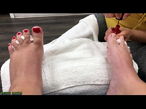 Chubby Slut gets a pedicure and gives a footjob