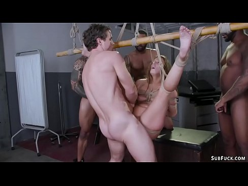 Five guys give therapy to bound slut
