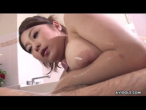 busty asian hottie rides hard cock during the slippery massa