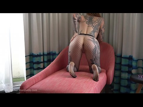 Clip sex Teasing you in fishnets then tearing them open for Hitachi orgasm!
