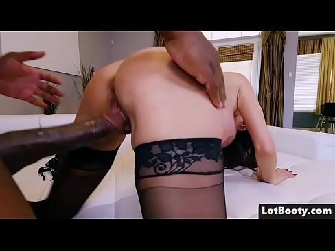 Brunette MILF Ariella Ferrera has fat booty and juicy boobs and she in stockings gets doggystyle fucked by big black cock
