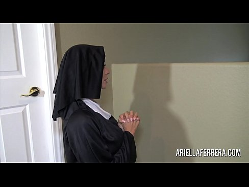 Sexy nun Ariella Ferrera sucking and swallowing cum