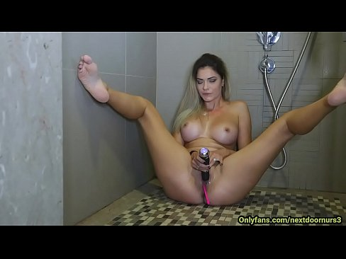 My girlfriend masturbates in the shower in front of the webcam