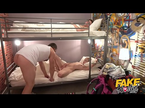 Fake Hostel - Young fiancee with great ass & nice natural tits fucked by older man as boyfriend sleeps through her squirting orgasms and creampie after she licks ass and deep throats cock