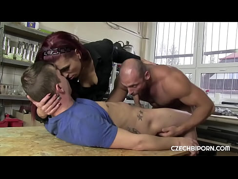 Hot threesome with colleague and girlfriend