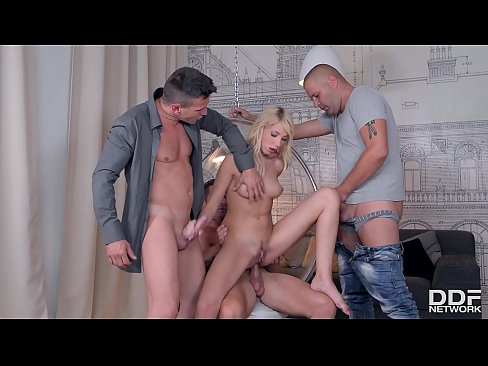 Gorgeous blonde babe Kimber Delice gets stuffed balls deep by 3 big dicks