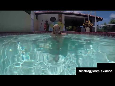 Plump Pussy Pleaser Nina Kayy Pleasures Her Wet Tight Cunt By The Pool