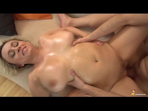 blonde chubby busty mom gives a rough tit job