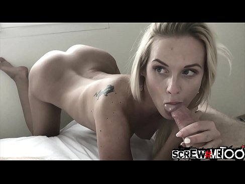 Blonde girl with small tits bends over for sex with big dick stranger