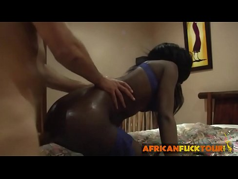 Slender Africa gal sucks huge white dick and gets pussy impaled on bed