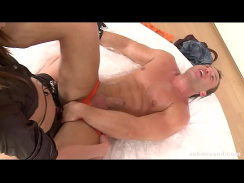 Clip sex Hot guy gets submissed, footjob, assfucked and dominated by horny mistress