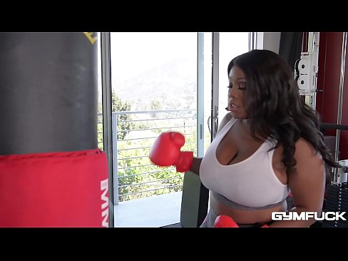 Gym fuck with voluptuous ebony dick addict Ms Yummy shows mature man bang her tits