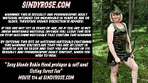 Sexy blonde Robin Hood prolapse & self anal fisting forest fun