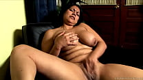 Cute chubby brunette with nice big natural tits fucks her juicy fat pussy