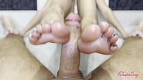 jerking him off with sexy feet until he cums