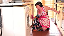 AuntJudys - Busty Full-Bush Janey gets hot and horny cleaning the kitchen