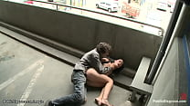 Euro babe bound and fucked in public
