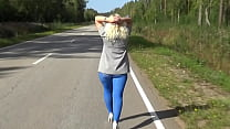 Flashing On The Street In Blue Pantyhose