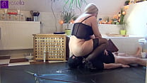 Extreme FemDom Session! Milk-Enema and slobber for a Slaves-Mouth! Cam 1! Slave had to swallow my milk enema and my drooling!