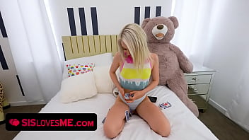 Gorgeous Blonde Teen Scarlett Hampton Plays Strip Poker With Her Horny Step Brother During Lockdown