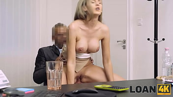 LOAN4K. Blonde girl agreement with the bank leads to intense sex