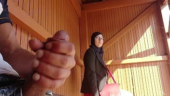 young boy shocks this muslim girl who was waiting for her bus with his big cock, OMG !!! someone surprised them; he might have problems and run away ...
