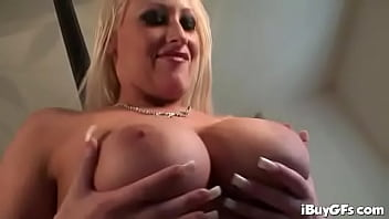 Hot babes help lucky guy to cum using her big tits